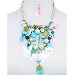 MULTI BEADED SPANGLE CHUNKY NECKLACE & EARRINGS